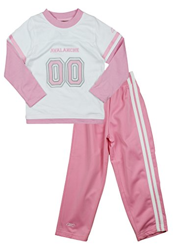 Reebok NHL Colorado Avalanche Little Girls 2-Piece Sueded Jersey and Pants Set, White/Pink