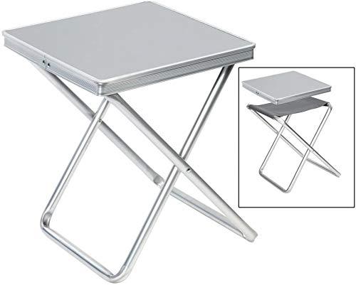 Hummelladen Alu Hocker mit MDF Tischplatte Tablett 40x40x46cm Aluminium Klapphocker Campinghocker Falthocker Angelhocker Campingtisch Wohnmobiltisch Wohnwagentisch klappbar handlicher Beistelltisch