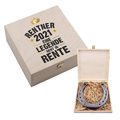 4youDesign Glücksbringer Hufeisen-Box • Rentner 2021 - Eine Legende geht in Rente • Rente/Ruhestand/Pension - Abschiedsgeschenk Geschenk für Kollegen Freunde Mutter Vater Oma Opa