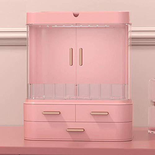 HFTYCC LED caja de almacenamiento de cosméticos, caja de almacenamiento para el cuidado de la piel a prueba de polvo, estante integrado para joyería-Rosado_Los 36 × 30 × 21cm