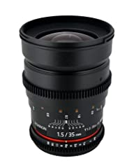 35mm fixed focal length; t/1.5-22 aperture range; Manual focus Features the same outstanding optical quality as the highly rated Rokinon 35mm f/1.4 lens Weight 25.2 ounces, length 4.38 inches, maximum diameter 3.3 inches, features de-clicked aperture...