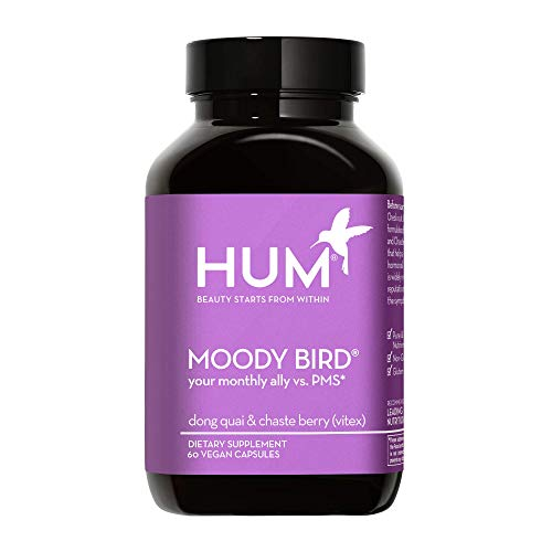 HUM Moody Bird - Chasteberry & Dong Quai Women's Monthly Support Supplement - Supports Cramps, Cravings and Irritability (60 Vegan Capsules)