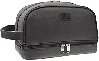 Premium Canvas Toiletry Bag By Freegrace - Large Dopp Kit For Men & Women - The Perfect Travel Essentials Organizer – Ideal For Cosmetics, Personal Items, Shaving Sets, Shampoo, Body Wash & More (Gray)