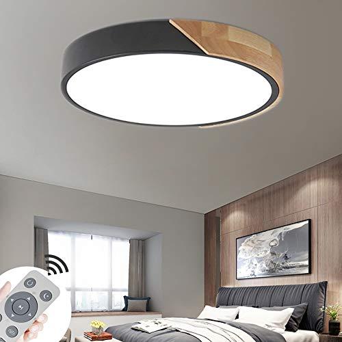 BRIFO 60W LED Plafonnier En Bois Dimmable Round,Plafonnier Pour Hall, Salon,Cuisine,Bureau,Lumière à économie d'énergie,Dimmable (3000-6500K) avec télécommande (60W Noire Dimmable)