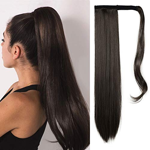 FESHFEN 61 cm lang glatt gewickelt Pferdeschwanz-Verlängerung Kunsthaar Haarverlängerung Haarteil für Frauen 130 g