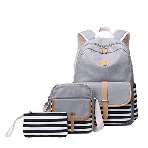 Mädchen Schulrucksack Umhängetasche und Geldbeutel 3 Tasche Set Große Kapazität Segeltuch Schultasche für Schule Outdoor Camping Ausflug(Grau)