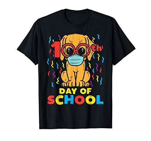 100th Day Of School Dog In Mask 100 Days Quarantine Gift T-Shirt