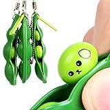 Venhoy Drücken eine Bohne Sojabohne Schlüsselanhänger Anti-Stress Entlastende Squeeze Toys Schlüsselanhänger Schlüsselbund