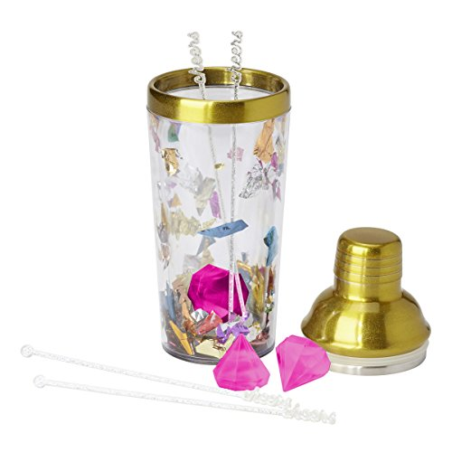 C.R. Gibson Gold Rimmed Confetti Cocktail Shaker with Reusable Ice Cubes and Cocktail Stirrers for All Occasions, 9'' H x 3.5'' D