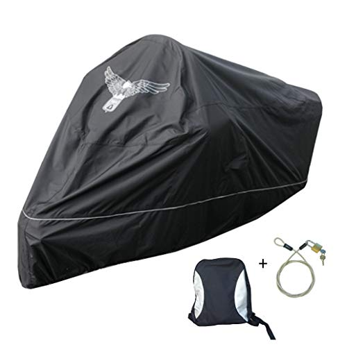 Premium Motorcycle Cover, Fits up to 108' Length Large Cruiser, Tourer, Chopper. Includes Cable & Lock - Eagle Logo