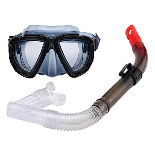 Seguro 2 Piezas Profesional Gafas de Bucear Easybreath Set de Buceo Gafas de Natación Adultos Tubo Respirador Máscara de Buceo Máscara Snorkel Anti-Niebla Anti-Fugas Antideslizante ( Color : Black )