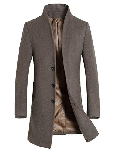 Mordenmiss Men's Winter Woolen Long Trench Coat Business Outfit Down Jacket Khaki L