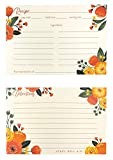 Steel Mill & Co Recipe Cards Double Sided, Cute Blank Recipe Card Set, Includes 40 Thick Non-Bleeding Card Stock (Orange Floral)