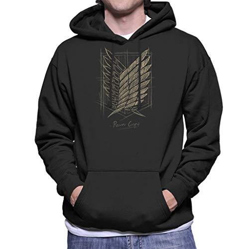 Cloud City 7 Attack On Titan Recon Corps Emblem Sketch Men's Hooded Sweatshirt