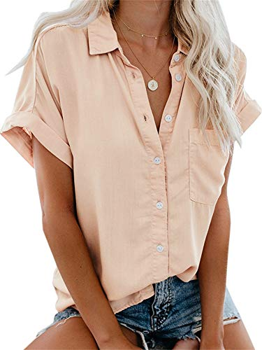 Beautife Womens Short Sleeve Shirts V Neck Collared Button Down Shirt Tops with Pockets Pink