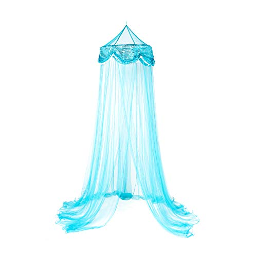 OctoRose Sequins Bed Canopy Mosquito Net Bed, Dressing Room, Out Door Events (Teal Blue)