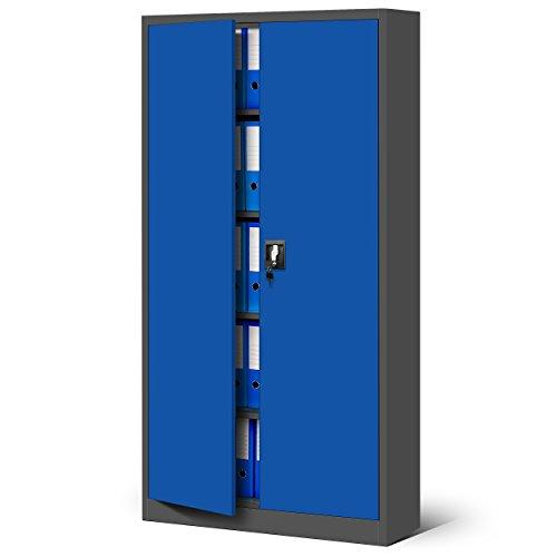 Jan Nowak Büroschrank C001 Aktenschrank Lagerschrank Mehrzweckschrank Metallschrank 4 Fachböden Pulverbeschichtung Stahlblech 185 cm x 90 cm x 40 cm (H x B x T) (anthrazit/blau-2)