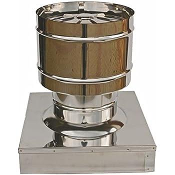Terminale circolare 4 venti per canne fumarie in acciaio inox con base quadrata DN 250 sezione 320x320