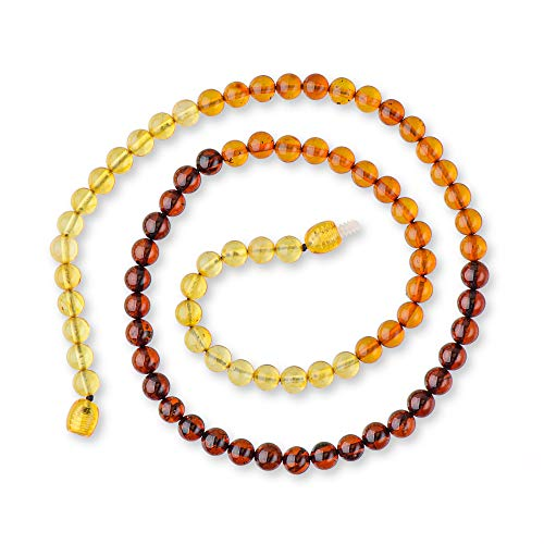 Adult Baltic Amber Necklace With Certified Amber Beads -Rainbow Color - Exclusive Round Beads (20)