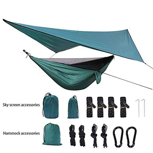 Ruixf 270cm X 140cm Camping Hängematte Outdoor mit Moskitonetz und 360cm X 290cm Wasserdicht Plane, Ultra-Light Atmungsaktiv 300 kg Tragfähigkeit, Winddicht, Regendicht und UV-beständig, Grün