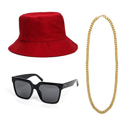 NUWIND 3-teiliges 80er 90er Jahre Hip Hop Kostüm Accessoires Kit - Melone Hut Gold Kette DJ Sonnenbrille Retro Stil Coole Rapper Party Outfits (Rot)
