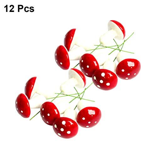 BESTOYARD Ornement d'arbre de Noël Petits Champignons Suspendus pendentifs Bricolage embellissements 12 pcs (Rouge)