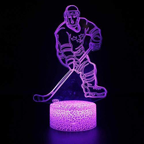YEXINR Tisch Illusion-Nachtlicht 3D 7 Farben ändern Usb Kabel Led Lampe 3D Lampe Geschenke Für Kinder Weihnachten Dekoration Ice hockey