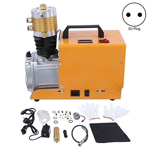 Vikye Tragbarer Luftkompressor-Inflator, 30MPa 4500PSI Luftpumpe Elektrischer Hochdruck-Integrierter Satz, Luftkompressorpumpe(EU Plug 220V)
