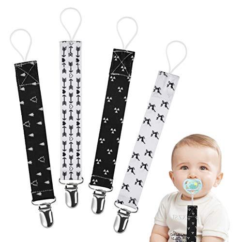 Cadenas para Chupetes Impresión con Estilo Clips De Chupete para Bebé Infante Niños y Niñas 4 Piezas