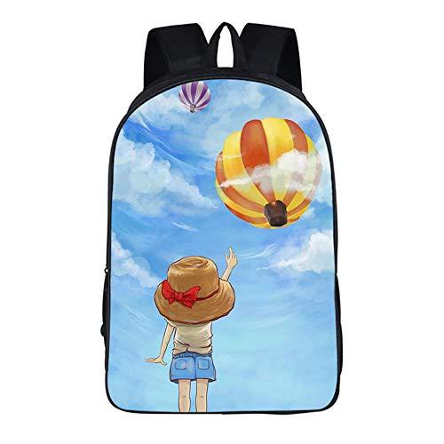 CJIUDI Cartoon Balloon - F,Rugzak Voor Tieners,Modepatroon Met Print,Laptoprugzak Met Koptelefoonaansluiting,Dagrugzak,Boekentassen,Voor College/School/Meisjes/Jongens