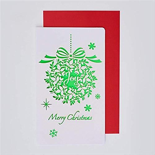 Wenskaarten BLTLYX 6 kaart + 6 envelop/set Cartoon uitgehold wenskaarten Creatief papier snijden Vrolijke kerstkaarten Vouwen Xmas Blessing Card 18 * 10.5cm kerstballen