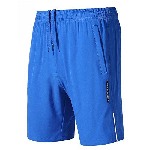 donhobo Herren Sporthose Trainingsshorts Sommer Jogginghose Sport Kurze Hosen mit Reißverschluss Taschen(Blau,L)
