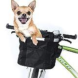 LANXIAO RR Canasta De Bicicleta Plegable,Desmontable Cesta De Manillar De Bicicleta,Cesta Multiusos para Manillar,Cesta para Perros para Mascotas,Compras,Picnics (Negro)