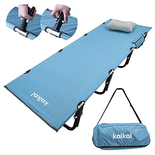 Kalkal キャンプコット 最新版 組み立て簡単 軽量2.5kg 耐荷重150kgローコット アウトドア用折りたたみ式ベッド 収納バッグ付き ブルー