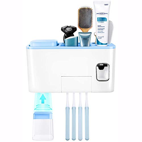 Toothbrush Holder Wall Mounted, Znben Heavy Duty Toothbrush Covers Holder Dustproof Space Saving Toothpaste Holder Kit with Automatic Toothpaste Dispenser for Bathroom Kids or Couple 2 Cups