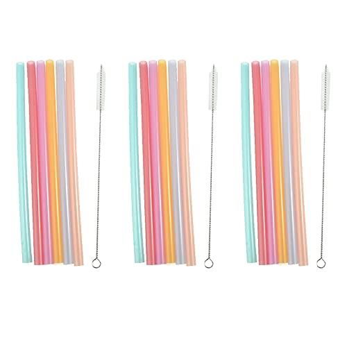 21 pajitas de silicona rectas coloridas reutilizables con cepillos de limpieza para zumos de frutas y bebidas frías