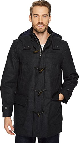 Nautica Men's Hooded Wool Toggle Coat, Charcoal, Large