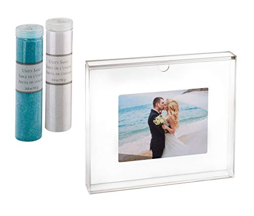 Lillian Rose US850S AW Clear Acrylic Unity Sand Ceremony Photo Frame Set, 1.6x11.4x9.25