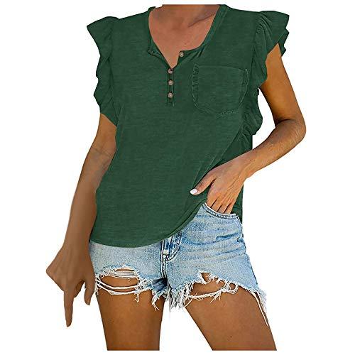 Chalecos para Mujer Camiseta sin Mangas con Botones Cuello con Volantes Tops Chalecos A Juego de Colores de Moda Verano