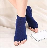 Mareyhm-jp 女性の女の子屋内滑り止め唯一のヨガの靴下丈夫な綿の半袖アンクルソックスプロのスポーツの靴下スポーツウェア (Color : Blue)