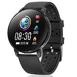 CatShin Smartwatch, Reloj Inteligente para Hombre Mujer, CS06 IP68 Impermeable Reloj de Fitness con Podómetro Pulsómetros Caloría, Pulsera Actividad Inteligente para Android iOS (Negro)