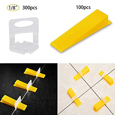 Tile Leveling System Tiles Leveler Spacers - Lippage free tile and stone installation for PRO and DIY - 300-Piece Leveling Spacer Clips Plus 100-Piece Reusable Wedges