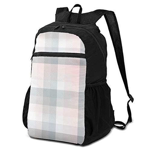 Packable Backpack Plaid Check Patten Pastel Gray Pink Beauty Fashion Men Perfectly Laptop Daypacks for Travel Womens Hiking Daypack Lightweight Waterproof travel Camping Outdoor
