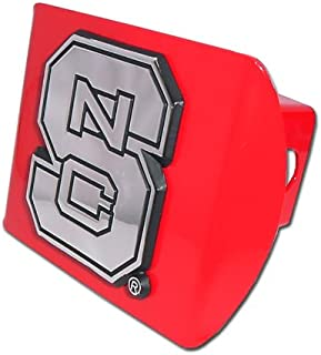 Elektroplate North Carolina State Red Metal NCAA Trailer Hitch Cover Fits 2 Inch Auto Car Truck Receiver with NCAA College Sports Logo