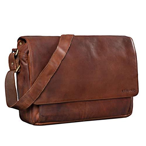 STILORD 'Lonzo' Vintage Umhängetasche echtes Büffel-Leder Messenger Bag für Herren und Damen Unitasche Büro Business Studium Leder, Farbe:maraska - braun
