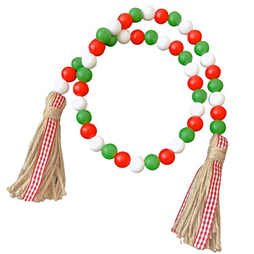 Enjoyyouselves Wooden Bead Garlands, Durable Colorful Wooden Beads with Tassels for Home Decoration, Hanging, Valentine's Day Gift