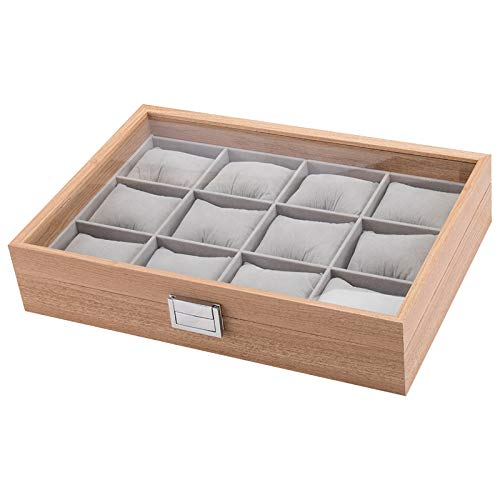 mixed24 Holz Uhrenkoffer für 12 Uhren Uhrenpräsentation Uhrenaufbewahrung Uhrenbox Armbanduhren Präsentation