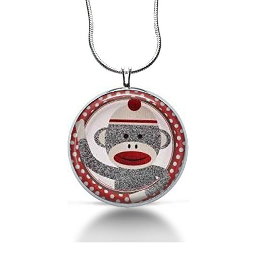 Monkey Necklace -- Sock Monkey gifts, Fun jewelry, Kids gifts