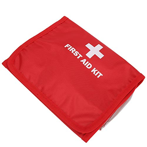 Bolsa para medicamentos de emergência, bolsa para auxílio de emergência, tecido de nylon vermelho portátil para escritório, acampamento de treinamento ao ar livre para escola, casa