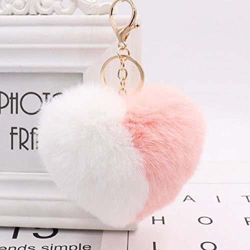 Color De Moda Corazón Llaveros Mujeres Llavero Pompón Coche Llavero Bolsa Colgante Accesorios-White_Pink